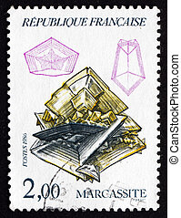 Postage stamp France 1986 Marcasite, White Iron Pyrite,...