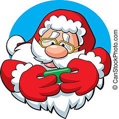 Texting Santa - Vector illustration of Santa texting.