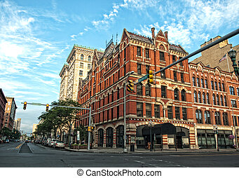street corner in downtown syracuse, new york