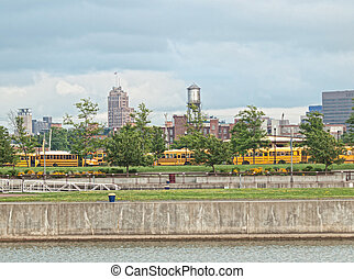 view of syracuse, new york from the syracuse inner harbor