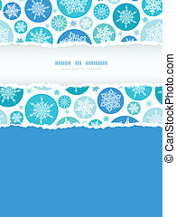 vector round snowflakes vertical torn frame seamless pattern background with drawn snowflakes on light blue background.