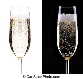 glass of champagne on a black and white background