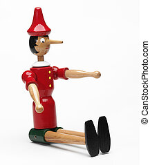 wood pinocchio on a white background