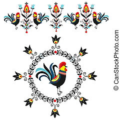 Folk Decorations Of Roosters - Folk decorations -polish...