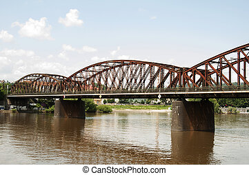 Railway Bridge at Vyton, Prague - Czech Republic - One of...