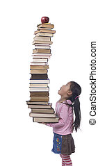 The weight of Knowledge - A young asian Girl hold the weight...