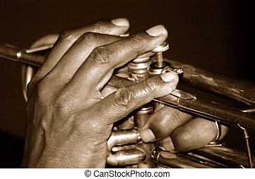 New Orleans Horn Hands - Trumpet Players Fingers