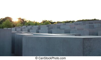 Berlin - holocaust monument - camera tracks along the...