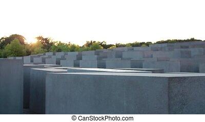Berlin - holocaust monument - camera tracks along the...