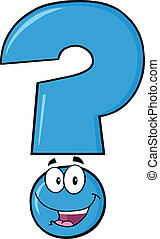 Happy Blue Question Mark Character - Happy Blue Question...