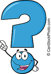 Happy Blue Question Mark Cartoon Character Pointing With...