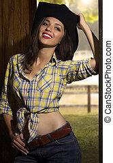 atractivo, sonriente, joven, mujer, vaquero, ropa, retrato,...