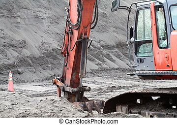 Sand Quarry Excavation - Heavy equipment excavating sand at...