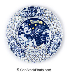 Plate with Christmas scene