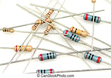 Resistors Close Up - A close up shot of resistors on a white...