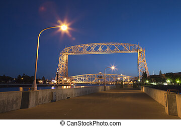 Duluth lift bridge at night - The lift bridge in Duluth,...