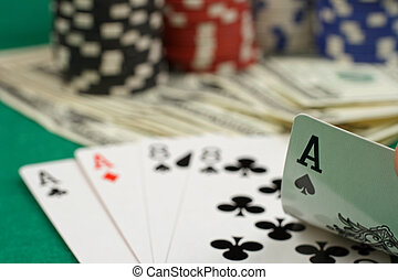 Poker Game - A close up image of a poker game with gaming...