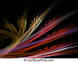 Curl and Feathered Abstract - Colorful, feathery textures in...