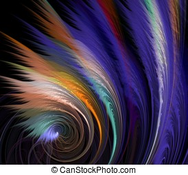 Feather Coil Abstract - Feathery textures fanning from...