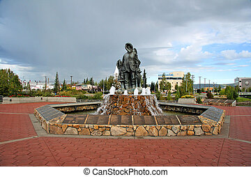 Fairbanks Statue - Monument to early settlers in Fairbanks,...