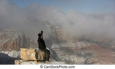 Winter Tourist Grand Canyon - a tourist in awe of the grand...