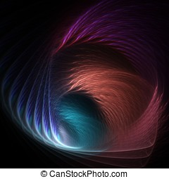 Feathery Fanning Abstract - Flowing, fanning colorful...