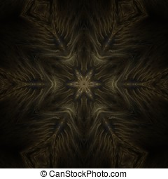 Feather Star Abstract - Dark brown star shape with feather...