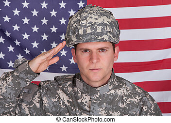 Portrait Of Solider Saluting - Portrait Of Serious Solider...
