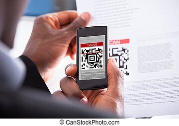 Businessman Scanning Code - Close-up Photo Of Businessman...