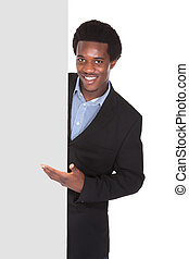 African Businessman With Placard - Happy African Businessman...
