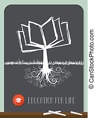 Vintage Book Tree - Education concept tree chalkboard...