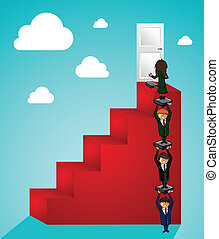 Business teamwork steps to success people
