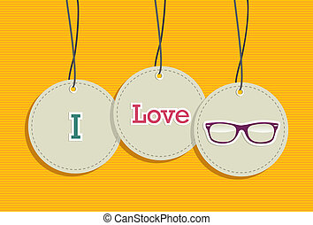 Hanging i love hipsters badges - I love vintage fashion...