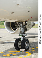 Nose wheel of commercial airliner - Detail of the nose wheel...