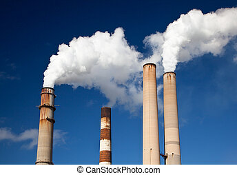 White Smoke out of Industrial smokestack