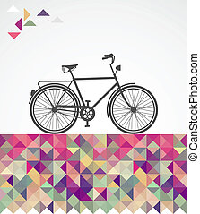 Retro hipsters bicycle geometric elements. - Vintage fashion...