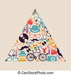 Retro hipsters icons triangle. - Vintage fashion hipsters...