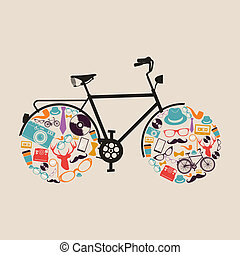 Vintage hipsters icons bike - Retro fashion hipsters icons...