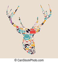 Retro hipsters icons reindeer - Vintage fashion hipsters...