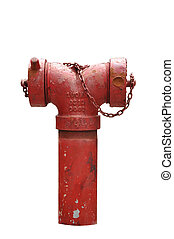 Red fire hose isolated on white background, clipping path...