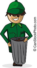 Profession garbage man cartoon figure. - Profession career...