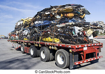 Truck full of steel scrap - Truck full of wrecked cars for...