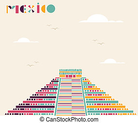 Mexico pyramid travel background. - Mexican pyramid triangle...
