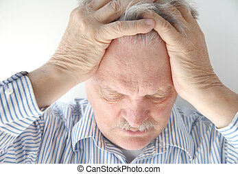 senior man upset - older man is overwhelmed and feeling...