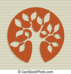 Abstract leaf tree design - Tree shape drawing over stripes...