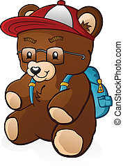 School Student Teddy Bear Cartoon - A young teddy bear cub...