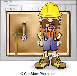 Construction Worker Cartoon Charact - A rough, tough...