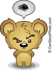 Frustrated Bear Cartoon Character - A stern frustrated teddy...
