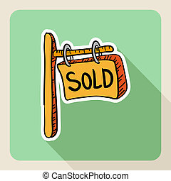 Sketch style real estate sold post sign
