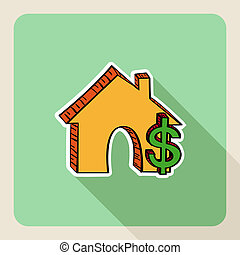 Hand drawn real estate house money symbols. - Sketch style,...